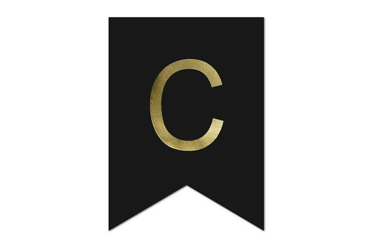 Andaz Press Shiny Gold Foil Paper Pennant Hanging Banner with Gold Party Signs, Cheers Bitches, Black, 1-Set