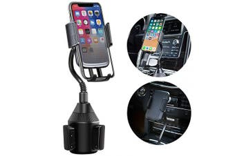 KNGUVTH Car Cup Holder Phone Mount Universal Adjustable Automobile Gooseneck Cup Holder Cradle Car Mount with a Flexible Long Neck Compatible for iPhone Xs/XS Max/X/8/7 Plus/Samsung Galaxy and More