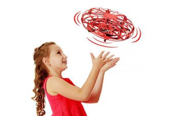(Red) - Tesoky 360°Rotation UFO Hand Operated Drone Flyer Toys for Kids
