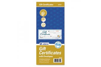 (1 Pack) - Adams Gift Certificate Book, Carbonless, Single Paper, 8.6cm x 20cm , White, 2-Part, 25 Numbered Certificates Plus Store Sign (GFTC1)