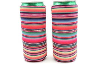 (Serape) - 2pcs Neoprene Slim Beer Can Cooler Tall Stubby Holder Foldable Stubby Holders Beer Cooler Bags Fits 350ml Slim Energy Drink & Beer (Serape)