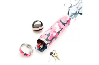 (590ml, Coral Camo) - 590ml Coral Camo Bindle Bottle | Stainless Steel Double Walled & Vacuum Insulated Water Bottle with Storage/Stash Compartment | Cup Holder Friendly | Drinks Stay Cold for 24 Hours, Hot for 12
