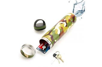 (590ml, Green Camo) - 590ml Green Camo Bindle Bottle | Stainless Steel Double Walled & Vacuum Insulated Water Bottle with Storage/Stash Compartment | Cup Holder Friendly | Drinks Stay Cold for 24 Hours, Hot for 12