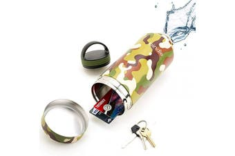 (710ml, Green Camo) - 710ml Green Camo Bindle Bottle | Stainless Steel Double Walled & Vacuum Insulated Water Bottle with Storage/Stash Compartment | Drinks Stay Cold for 24 Hours, Hot for 12