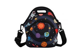 (Outer Space) - Neoprene Lunch Bag Reusable Tote Bag Insulated Lunch Box Large Lunch Tote Handbag Fordable for Children Kids Men & Women, Boys (Outer Space)