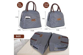 (Dark Blue White Strip,Large Size) - Buringer Reusable Insulated Lunch Bag Cooler Tote Box with Front Pocket Zipper Closure for Woman Man Work Picnic or Travel (Dark Blue White Strip,Large Size)