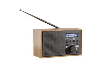 Daewoo Small Wooden DAB/FM Radio | AC Adaptor | LCD Display | 3.5mm Stereo Headphone Port | 10 Pre-Set Channels | Text Alarm Function | Small & Compact | Easy to use | Great for Home or Office - Whit