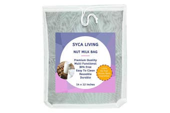 Syca Living Almond Nut Milk Strainer Mesh Filter Bag Premium Quality X Large 36cm x 30cm Reusable and Durable for Nut Milk, Juice, Yoghurt, Cheese, Tofu and Sprouting.