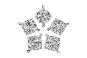 (Rhombus, Rhombus) - Beadthoven 50pcs Antique Silver Rhombus Connectors Alloy Tibetan Style Rhombus Link Charms for Making Bracelets Necklaces Dangling Earrings Cadmium Free & Nickel Free & Lead Free| 28x22x1mm