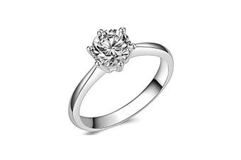 (9.5) - Brisk Brilliant Round Cut Simulated Diamond CZ 6-Prong Engagement Wedding Ring Sizes 4 to 9.5 (9.5)