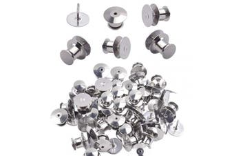 Tie Tacks and Clutch Backs Set, 30 Pieces Tie Tacks Blank Pins (10 mm in Diameter) with 30 Pieces Locking Pin Backs Pin Keepers Locking Clasp - Silver Colour