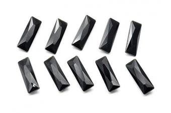 (7X21mm, black) - Catotrem Baguette Rhinestone Pointback Crystal Stone Silver Plated Tiny T Shape Glass Crystals(7x21mm) Black