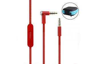 (Red) - Replacement Audio Cable Cord Wire Beats Cord with Inline Mic and Volume Control Cable for Beats by Dr Dre Headphones Solo/Studio/Pro/Detox/Wireless/Mixr/Executive/Pill (Red+Storage Case)