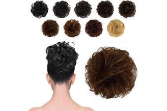 BARSDAR 100% Human Hair Scrunchies (8# Light Chestnut Brown) Curly Messy Hair Bun Extensions Wedding Hair Pieces for Women Kids Hair Updo Donut Chignons