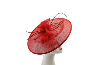 (Red) - Large Headband and Clip Hat Fascinator Weddings Ladies Day Race Royal Ascot