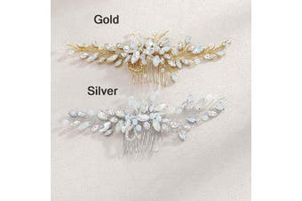 (Gold) - Simsly Wedding Hair Combs Slides Headpiece Bridal Hair Accessories Blue Opal Dancing Prom for Bride and Bridesmaids(Gold)