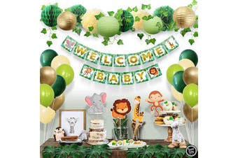 Sweet Baby Co. Jungle Theme Safari Baby Shower Decorations with Banner, Animal Centrepieces, Tropical Leaves, Ivy Garland, Paper Lanterns, Pom Poms, Honeycomb | Neutral Party Supplies for Boy or Girl