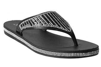 (7 UK, Black) - A & H Footwear Womens Ladies Diamante Slip On Toe Post Girls Summer Beach Casual Thong Sandals Flip Flops UK Sizes 3-8