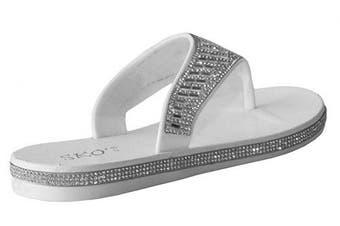(6 UK, White) - A & H Footwear Womens Ladies Diamante Slip On Toe Post Girls Summer Beach Casual Thong Sandals Flip Flops UK Sizes 3-8