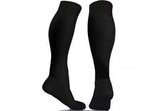 (Solid Black L/XL (USA: 9-14) PAIR) - aZengear Compression Socks for Women & Men - 20-30 mmHg - Flight Socks - Anti DVT - Travel - Running - Skiing - Athletics - Nurses - Shin Support - Pregnancy - Blood Circulation