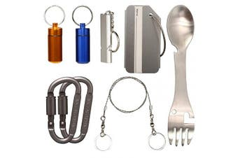 Timorn Travel Pill Organiser Emergency Whistle Luggage Tag Keychain Carabiner Clip Spork Stainless Steel Saw Wire, Survival Kit for Outdoor Travel Camping Hiking Boating Hunting Fishing