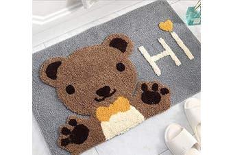 (Gray-hi) - Mrs Sleep Cute Bear Hi Print Door Mat Welcome Door Mat Non Slip Mat Washable Bathroom Floor Mat (Grey-hi)