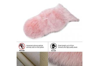 (Pink, 60 X 90 CM irregular) - HEQUN New 2019 Upgraded Non-Slip Faux Fur Rug, Fluffy Rug, Shaggy Rugs,Faux Sheepskin Rugs Floor Carpet for Bedrooms Living Room Kids Rooms Decor (Pink, 60 X 90 CM irregular)