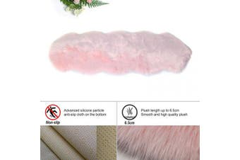 (Pink, 60 x 160 cm irregular) - HEQUN New 2019 Upgraded Non-Slip Faux Fur Rug, Fluffy Rug, Shaggy Rugs,Faux Sheepskin Rugs Floor Carpet for Bedrooms Living Room Kids Rooms Decor (Pink, 60 x 160 cm irregular)
