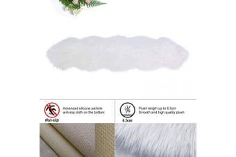 (White, 60 x 160 cm irregular) - HEQUN New 2019 Upgraded Non-Slip Faux Fur Rug, Fluffy Rug, Shaggy Rugs,Faux Sheepskin Rugs Floor Carpet for Bedrooms Living Room Kids Rooms Decor (White, 60 x 160 cm irregular)