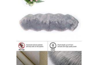 (Grey, 60 x 160 cm irregular) - HEQUN New 2019 Upgraded Non-Slip Faux Fur Rug, Fluffy Rug, Shaggy Rugs,Faux Sheepskin Rugs Floor Carpet for Bedrooms Living Room Kids Rooms Decor (Grey, 60 x 160 cm irregular)