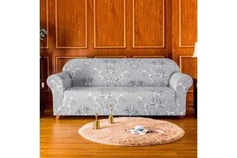 (Sofa, Gray Pattern-2) - Subrtex 1 Piece Stretch Pattern Sofa Covers Soft Printed Fabric Spandex Armchair Slipcovers, Anti-Slip, Machine Washable (Sofa, Grey)