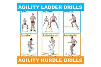 (Yellow - 6 Rung) - Yes4All Agility Ladder with Carry Bag Footwork Ladder - Multi Choices: 8, 12, 20 Rung and Combo with Agility Cones