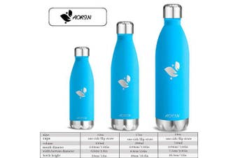 (Sky blue, 500ml) - AORIN Vacuum Insulated Stainless Steel Water Bottle - 24 hrs Cooling & 12 hrs Keep Warm. Powder coating Scratch resistance Easy to clean