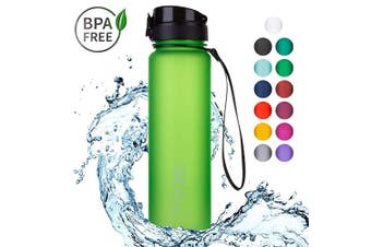 "(1000ml, 10 Apple Green | Softtouch) - 720°DGREE Water Bottle ""uberBottle"" +Fruit-Infuser - 350ml, 500ml, 650ml, 1L - BPA-Free Tritan, Leakproof, Reusable - Sports, Drinking Bottle for Gym, Fitness, Kids, Fitness, Cycling, School & Office"