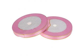 (Pink) - ATRibbons 50 Yards 1cm Wide Single-face Satin Ribbon with Gold Edges for Gift Wrapping, Floral Design and Craft,25 Yards/roll x 2 Rolls (Pink)