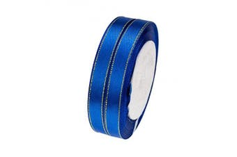 (Royal Blue) - ATRibbons 50 Yards 1cm Wide Single-face Satin Ribbon with Gold Edges for Gift Wrapping, Floral Design and Craft,25 Yards/roll x 2 Rolls (Royal Blue)