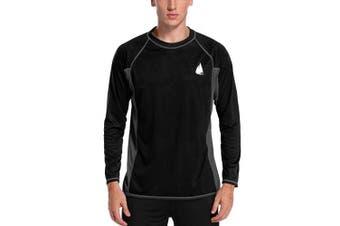 (Medium, Black-gray) - Charmo Men's Rash Guard Loose Fit Long Sleeve UV Protection Sun Shirts Swim Shirt UPF 50+