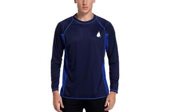 (XX-Large, Royal-blue) - Charmo Men's Rash Guard Loose Fit Long Sleeve UV Protection Sun Shirts Swim Shirt UPF 50+