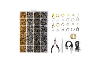 CBTONE 3313 Pcs Jewellery Findings kit Jewellery Making Starter Set with Open Jump Rings, Lobster Clasps, Jewellery Pliers, Black Waxed Necklace Cord for Jewellery Necklace Repair and Making Homemade Jewellery