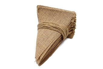 (11M) - 11M Burlap Flag Banner, 48PCS Rustic Linen Bunting, Natural Hessian Garlands Wedding Party Decoration (11M)