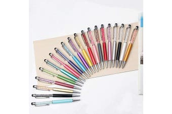 20pcs 2 in 1 Stylus Ballpoint Pen, Crystal Diamond Retractable Screen Touch Pen, Bling Capacitive Pens for Smartphones, iPhone, iPad, Kindle, Note, Tab, Office School Stationery supplies(20 colours)