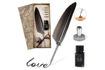(Black Feather) - Quill Pen, Joylink Handmade Quill Feather Pen Set Antique Calligraphy Writing Quill Pen with Ink, 5 Replacement Nibs, Vintage 2 Envelopes, Pen Nib Base, 4 Writing Papers in Gift Box (Black Feather)