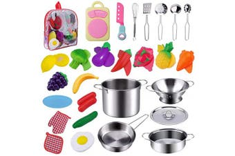 Jionchery 26 Pcs Kitchen Toys Set Pretend Play Accessories with Stainless Steel Cookware Pots and Pans Set, Educational Toys Fruit and Vegetables Cutting Set for Kids Girls Boys Toddlers