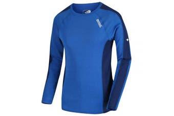 (XL, Oxford Blue/Prussian) - Regatta Men's Beru Merino Wool Super Soft Odour Controlling Long Sleeve Wicking Base Layer Top