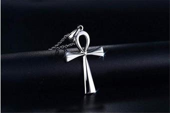 (Silver) - AILUOR Men's Men's Stainless Steel Coptic Ankh Cross Religious Pendant Necklace Adjustable