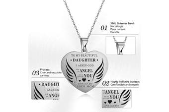 (Silver) - AFSTALR Mother and Daughter Necklace Gifts for Girls Heart Love Pendant Engraved Mum Love You Children Birthday Jewellery Gifts