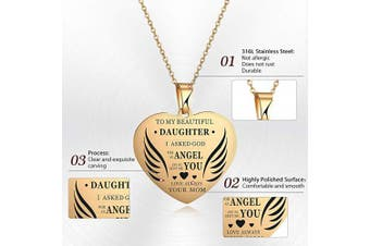 (Gold) - AFSTALR Mother and Daughter Necklace Gifts for Girls Heart Love Pendant Engraved Mum Love You Children Birthday Jewellery Gifts