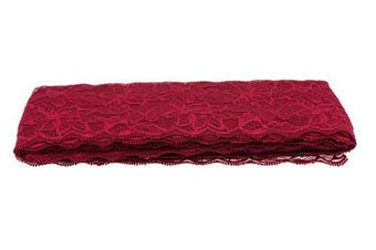 (Dark Red) - ATRibbons 10 Yards 7.6cm Wide Elastic Lace Trim Floral Pattern Lace Ribbon for Garment,Crafts and Gift Wrapping (Dark Red)