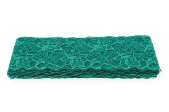 (Atrovirens) - ATRibbons 10 Yards 7.6cm Wide Elastic Lace Trim Floral Pattern Lace Ribbon for Garment,Crafts and Gift Wrapping (Atrovirens)