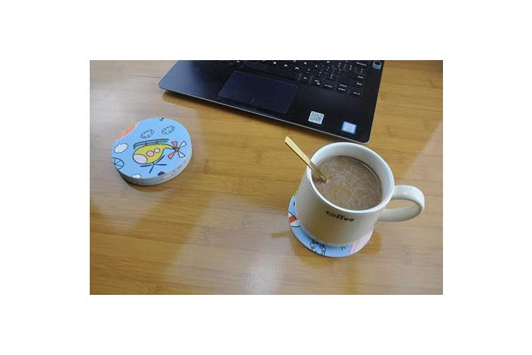 (Childhood) - L-COOL 10cm Printed Thicken Food- Grade Silicone Drink Coasters Set of 6,Non-slip And High Temperature Resistant(200 ° C) Cold(-40 ° C),Fits Any Size Cup Mug Or Wine Glass (Childhood)